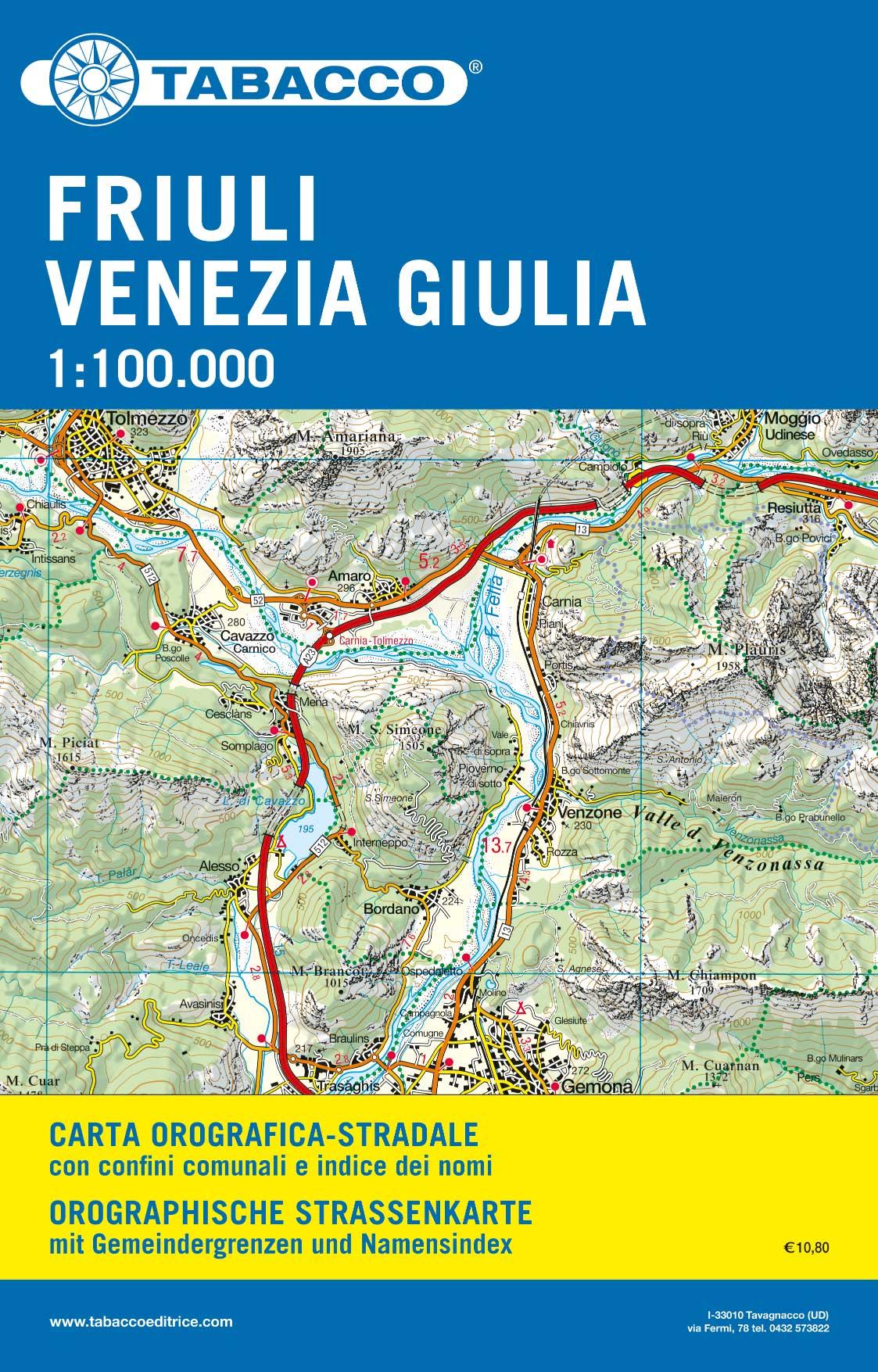 Cartina Friuli Venezia Giulia.Friuli Venezia Giulia Vf100 Tabacco Editrice